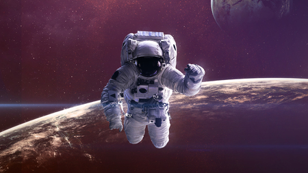 Astronaut in outer space. Elements of this image furnished by NASA. Stok Fotoğraf