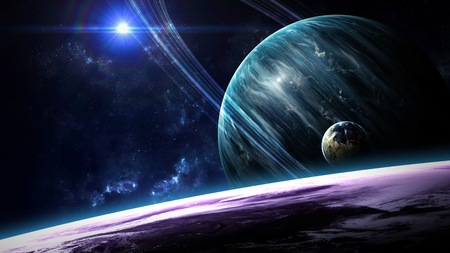 space: Universe scene with planets, stars and galaxies in outer space showing the beauty of space exploration. Elements furnished by NASA