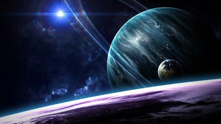 Universumszene mit Planeten, Sternen und Galaxien im Weltall, die die Schönheit der Weltraumforschung zeigen. Von der NASA eingerichtete Elemente