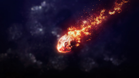 vaporized: A Meteor glowing as it enters the Earths atmosphere. Elements of this image furnished by NASA