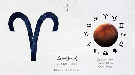 archer fish: Zodiac sign - Aries. Cool astrologic infographics.