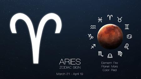 星座 - 牡羊座。クールな占星術インフォ グラフィック。