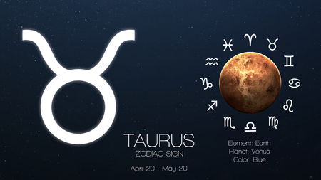 Zodiac sign - Taurus. Cool astrologic infographics. Stok Fotoğraf - 50420281