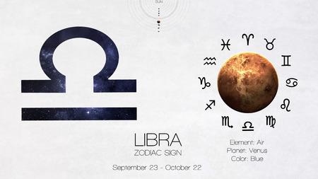libra zodiac: Zodiac sign - Libra. Cool astrologic infographics. Stock Photo