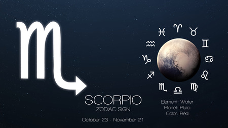 archer fish: Zodiac sign - Scorpio. Cool astrologic infographics Stock Photo