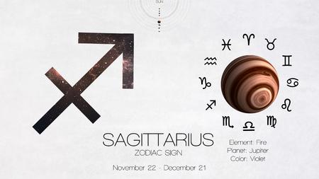 libra zodiac: Zodiac sign - Sagittarius. Cool astrologic infographics.  Stock Photo