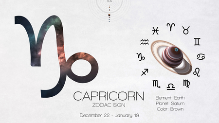 Zodiac sign - Capricorn. Cool astrologic infographics.