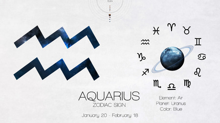 archer fish: Zodiac sign - Aquarius. Cool astrologic infographics. Stock Photo