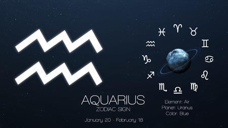 Zodiac sign - Aquarius. Cool astrologic infographics. Stock Photo
