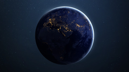 star field: High Resolution Planet Earth view. The World Globe from Space in a star field showing the terrain and clouds. Stock Photo
