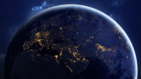 고해상도 지구보기. 스타 필드의 공간에서 세계 글로브 지형과 구름을 게재합니다.