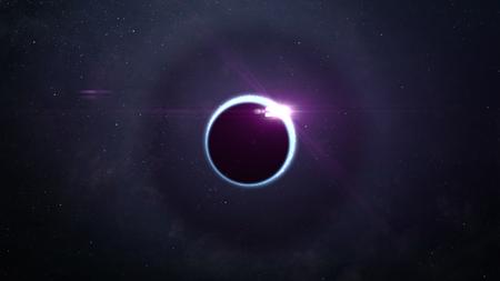 Zusammenfassung der wissenschaftlichen Hintergrund - volle Sonnenfinsternis, schwarzes Loch. Standard-Bild