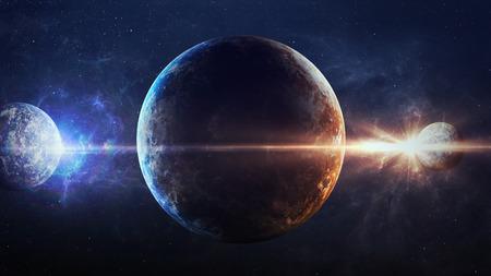 Univers scène avec des planètes, des étoiles et des galaxies dans l'espace montrant la beauté de l'exploration spatiale.