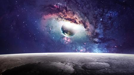 astronauta: Escena universo con planetas, estrellas y galaxias en el espacio exterior que muestran la belleza de la exploración espacial. Foto de archivo