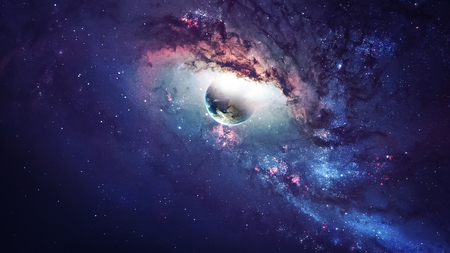 telescope: Universe scene with planets, stars and galaxies in outer space showing the beauty of space exploration.