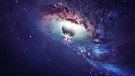 Universum-Szene mit Planeten, Sterne und Galaxien im Weltraum, welche die Schönheit der Weltraumforschung. Standard-Bild