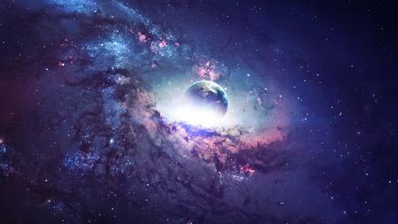 Wszechświat sceny z planet, gwiazd i galaktyk w kosmosie ukazujących piękno przestrzeni kosmicznej. Zdjęcie Seryjne