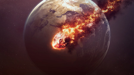 vaporized: A Meteor glowing as it enters the Earths atmosphere.