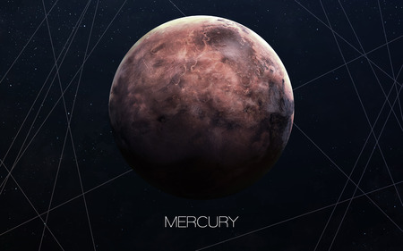 system: Mercury - High resolution images presents planets of the solar system. Stock Photo