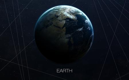 지구 - 높은 해상도 이미지는 태양계의 행성을 선물한다. 스톡 콘텐츠
