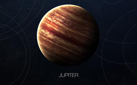 木星 - 高解像度の画像は、太陽系の惑星を提示します。 写真素材