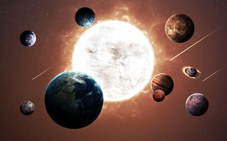 Imágenes de alta resolución presenta planetas del sistema solar. Foto de archivo