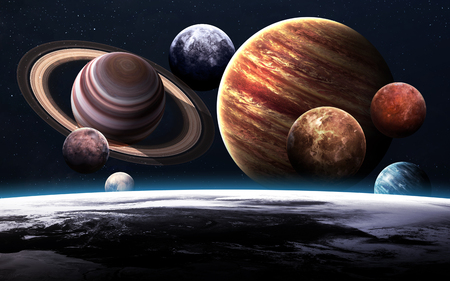 Hoge resolutie foto's presenteert de planeten van het zonnestelsel.