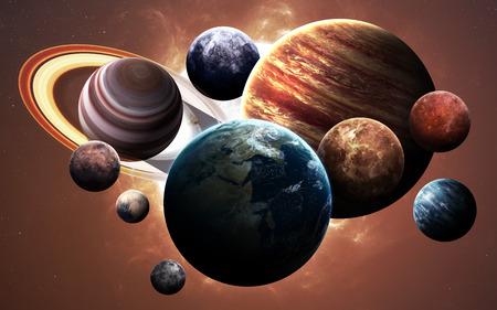 High resolution images presents planets of the solar system. Imagens