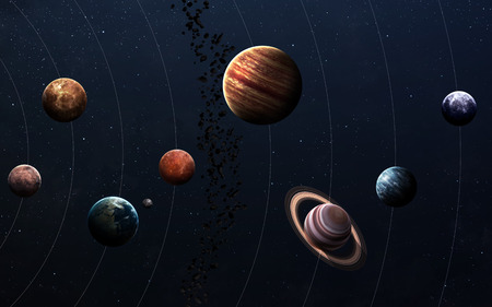 discovery: High resolution images presents planets of the solar system. Stock Photo