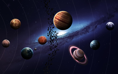 kepler: High resolution images presents planets of the solar system. Stock Photo