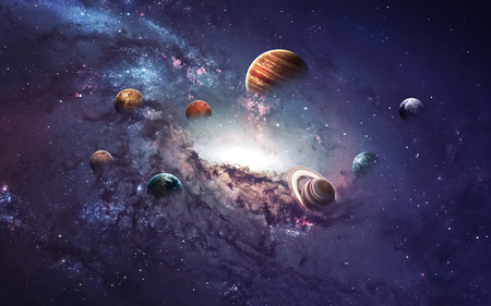 Hoge resolutie foto's presenteert het creëren van planeten van het zonnestelsel. Stockfoto - 50430104