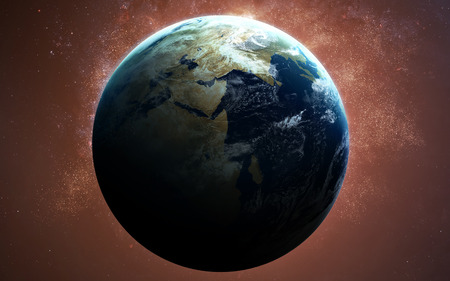 kepler: High Resolution Planet Earth view. The World Globe from Space in a star field showing the terrain and clouds.