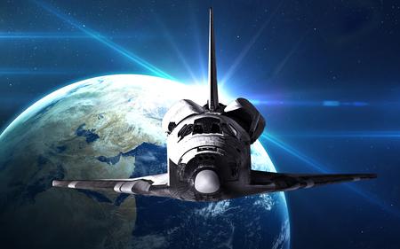 El transbordador espacial despegando en una misión.