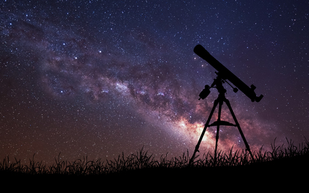 Infinite space background with silhouette of telescope. Stok Fotoğraf - 50432653