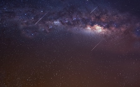 Oneindige ruimte achtergrond met Melkweg. Stockfoto