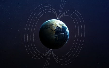 magnetic field: Planet Earths magnetic field.  Stock Photo