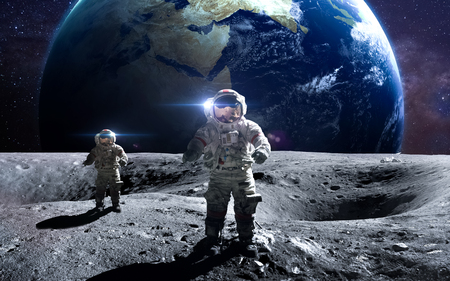 kepler: Brave astronaut at the spacewalk on the moon.