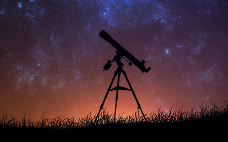 Infinite space background with silhouette of telescope