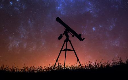 Fond d'espace infini avec silhouette de télescope