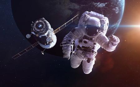 Spacecraft Soyuz orbiting the earth.