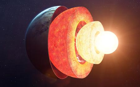 Estructura del núcleo de la Tierra. Foto de archivo