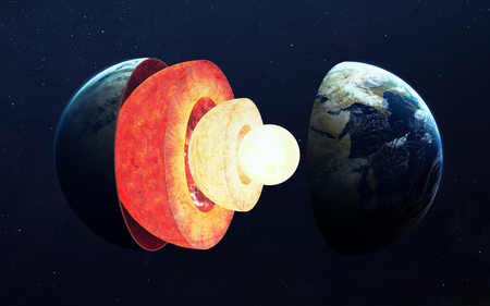 cut away: Earth core structure.