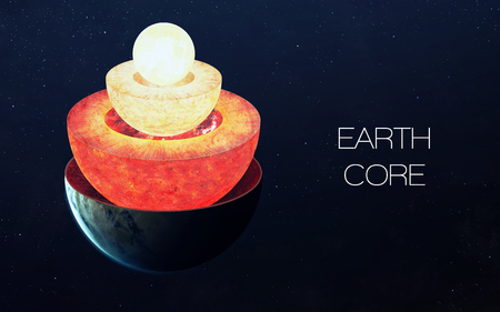 cutaway: Earth core structure.