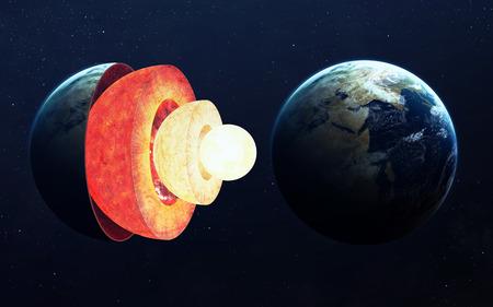 Estructura del núcleo de la Tierra. Foto de archivo - 52306444