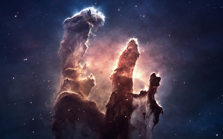 the universe: Nebula and stars in deep space, glowing mysterious universe. Stock Photo