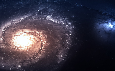 the universe: Galaxy in deep space, glowing mysterious universe