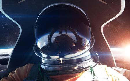 raumschiff: Brave Astronauten im Raumschiff Kabine.