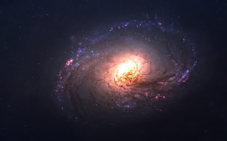 Awesome spiral galaxy many light years far from the Earth