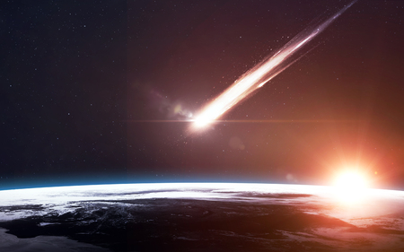 vaporized: A Meteor glowing as it enters the Earths atmosphere Stock Photo