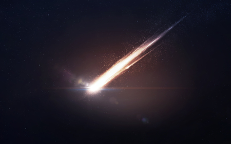 atmosphere: A Meteor glowing as it enters the Earths atmosphere Stock Photo